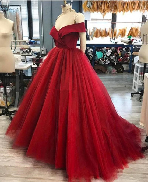 Dark Red Ball Gown Quinceanera Dress Simple Design Vestidos Off The Shoulder New Formal Dresses Custom Made