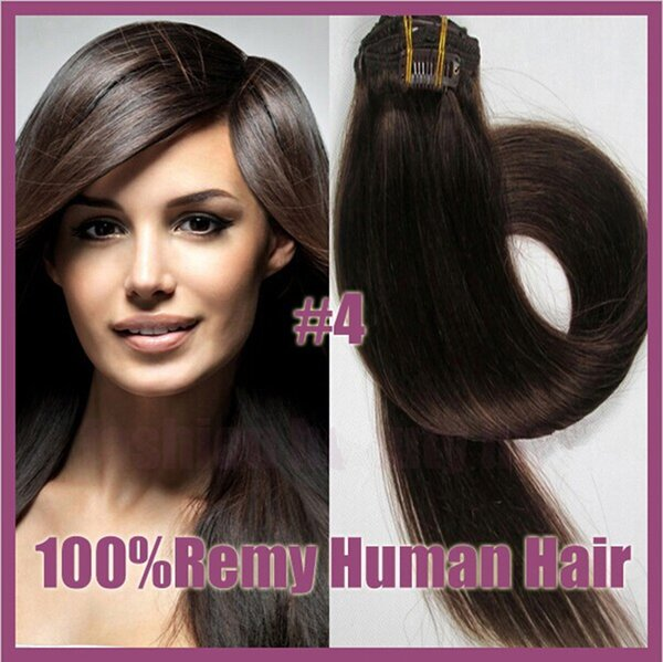 """Wholesale - 18-20"""",8pcs Brazilian remy Hair straight clip-in hair remy human hair extensions, 6# light brown ,100g/set,"""