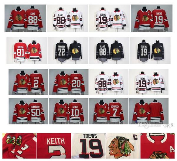 2018 Jahreszeit Chicago Blackhawks 19 Jonathan Toews 88 Patrick Kane Crawford 81 Marian Hossa 2 Duncan Keith 20 Saad 7 Seabrook Hockey Trikots