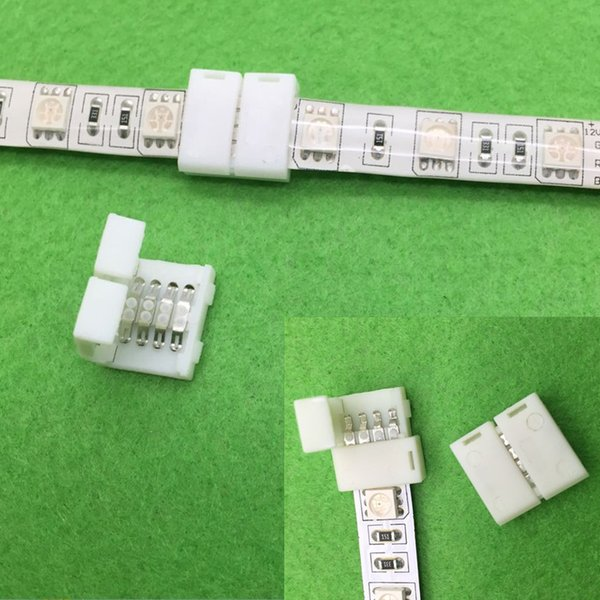 50 ADET 5050 RGB Led Şerit Konektörü 4 Pin Led Konnektörler Hiçbir Lehimleme 50mm RGB Şerit için 10mm PCB kurulu tel bağlantısı