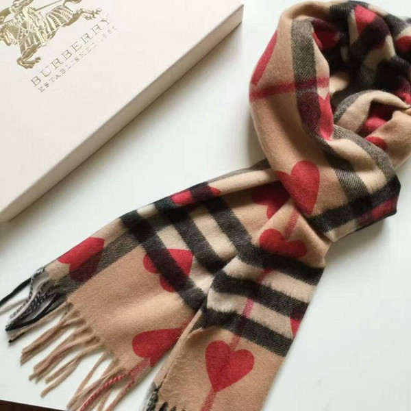zhu Top 100% Wool winter Warm Love Cashmere Scarf Brand The Classic Cashmere Scarf in Check and Hearts 180x30cm