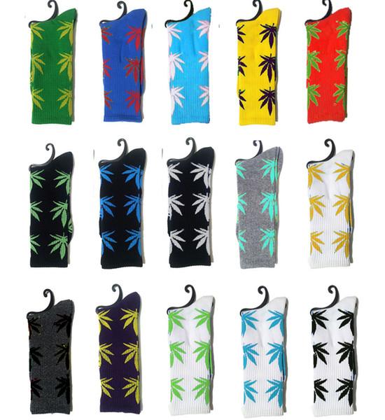 Calcetines de corte alto caliente Calcetines de hombre de las mujeres con estampado de hojas Unisex Calcetines de algodón de tamaño libre 5 pares