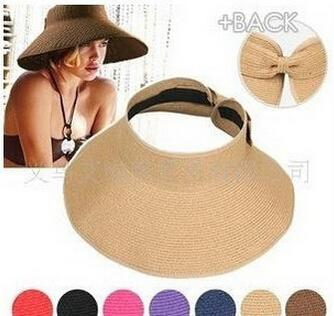 2015 free shipping 1pc fashion lady hollow bow summer hats UV sun capwoman beach visor hat large brimmed straw hat foldable
