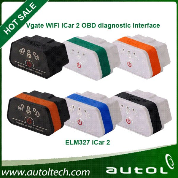 2015 100% Original Vgate WiFi iCar 2 OBDII ELM327 iCar2 wifi vgate OBD diagnostic interface for IOS iPhone iPad Android PC