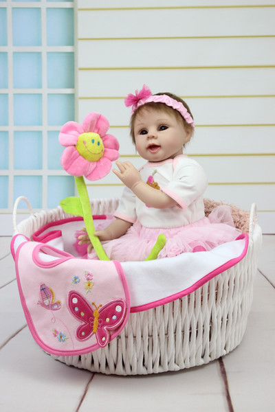 Wholesale- Reborn Baby Doll Soft Silicone 22inch 55cm Magnetic Lovely Lifelike Pink Dress Girl Toy Cute Toy For Christmas Gift