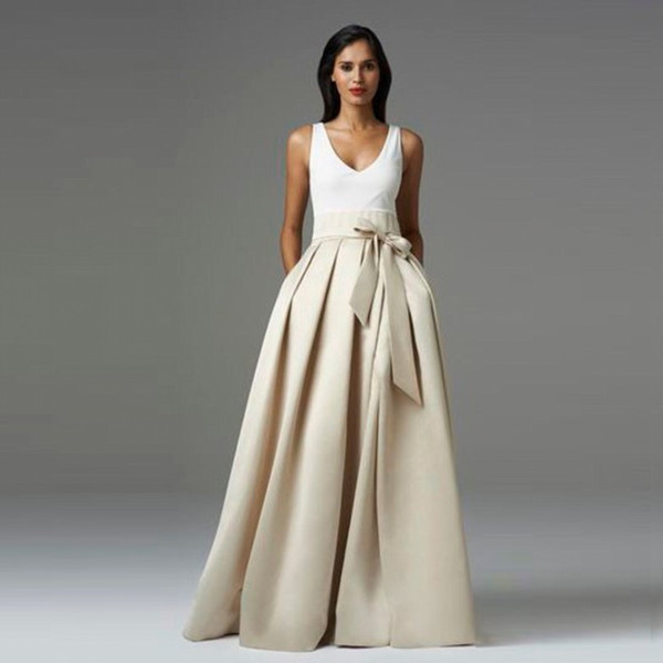 best selling 2016 High Quality Satin Party skirt For Women Ruffles Bow Long Tutu Skirt Laberate Maxi Elasitc Waist Formal Party Skirts