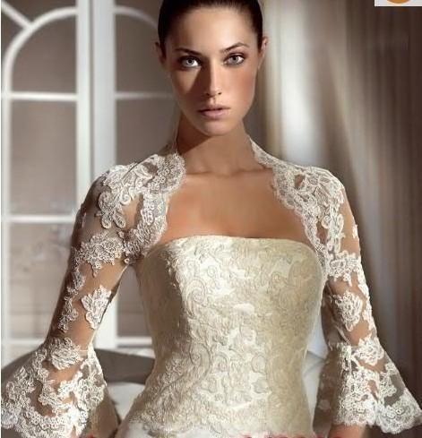 top popular 2015 Bridal Jackets with Half Sleeves Cheap Bridal Accessories Wedding Wraps with Appliques Custom Made Wedding Boleros with Flare Sleeve 2021
