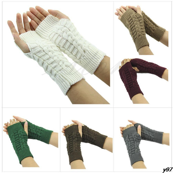 Wholesale-Y97Free Verschiffen Frauen Winter Unisex Arm Warmer Ellenbogen Lange Fingerlose Handschuh Knited Soft Handschuhe