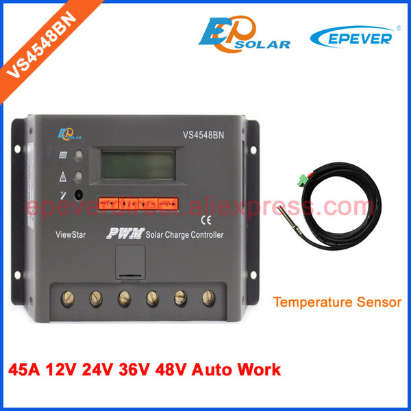 VS4548BN 45A 45amp PWM LCD-Anzeige für Solarstrom-Controller mit Temperatursensor 12 V 24 V 36 V 48 V