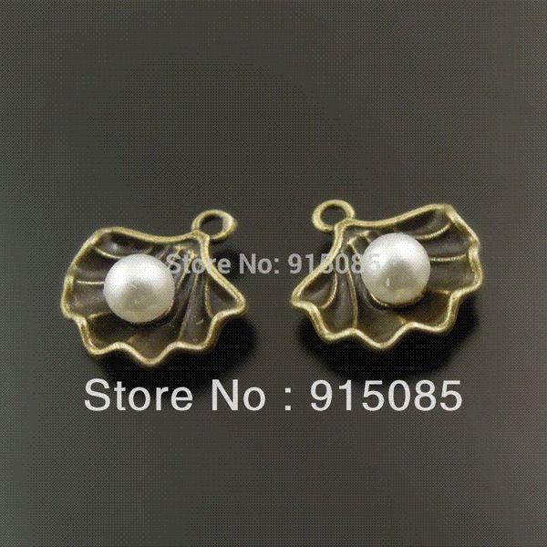 Whosesale Antique Style Bronze Tone Shell Pearl Charm Pendant Finding Hot 40PCS 38007 charm pendants shell pearl