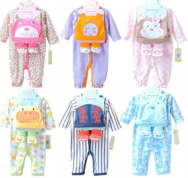 2016 Neonati Pagliaccetti Tute Ragazze Ragazzi Ragazze Manica lunga Pagliaccetto animale + Cappello + calzini 3pcs Set Cotone New Born Babys Abbigliamento 6 colori # 3793