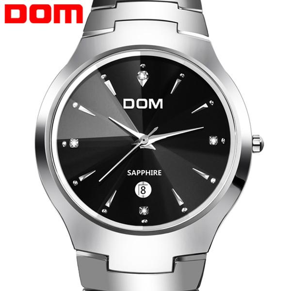 All'ingrosso-originale marchio DOM 698 mens donna zaffiro specchio in acciaio tungsteno paio orologi 200 M impermeabile Diving Sport orologio al quarzo
