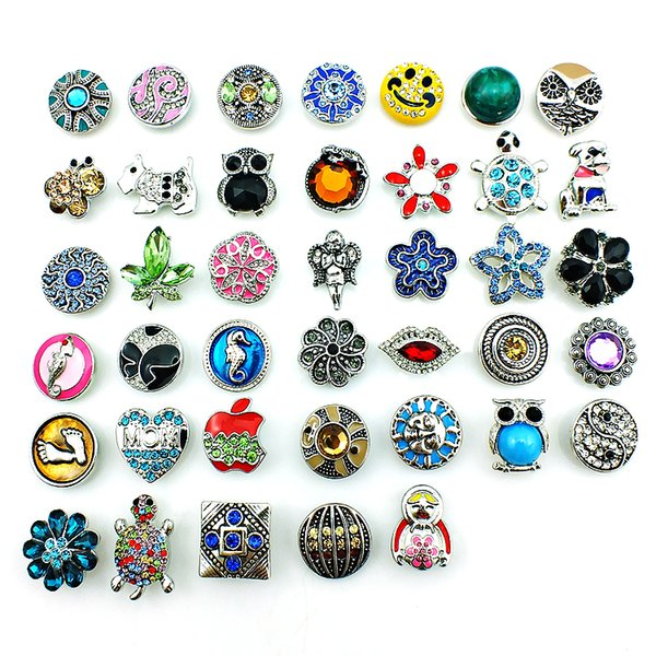 top popular Mix Sale 40 Style 18mm Snap Button Latest Fashion Metal Clasps DIY Noosa Accessories Jewelry Wholesale 2021