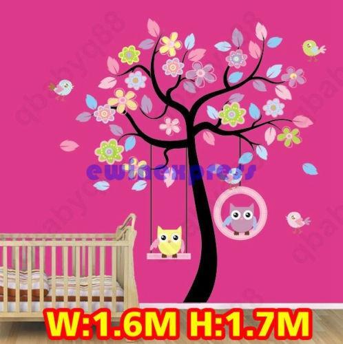 Freeship Hot sale Large Owl Swing Flower Tree Wall decal Removable stickers decor art kids nursery