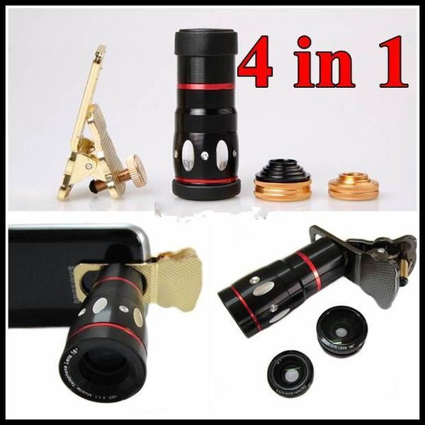 4 in 1 Universal Clamp Camera Lens + Wide Angle Lens + Macro + 10x Optical Zoom Clip Telephoto Clamp Clip camera cat eyes For Cell phone
