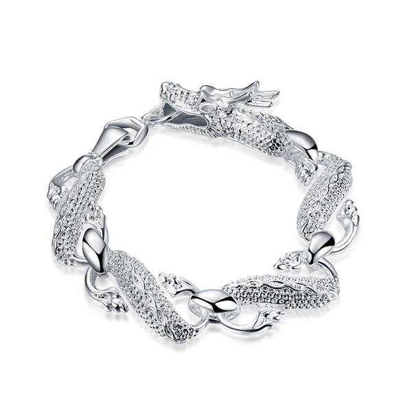 Großes silbernes Armband des Drachen, 925 silberne Armbänder, Spitzenmarkierungsarmbänder der Männer 925 freies Verschiffen h036