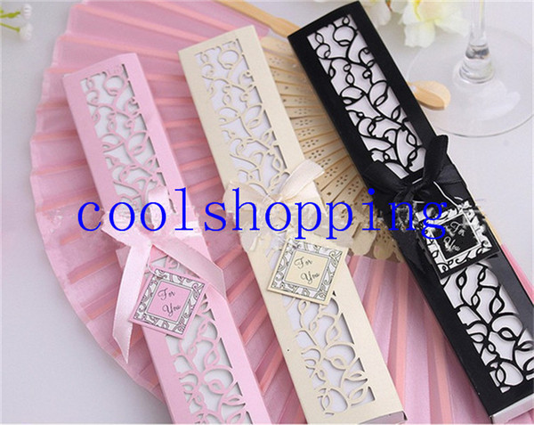 best selling DHL Freeshipping Luxurious Silk Fold hand Fan in Elegant Laser-Cut Gift Box (Black; Ivory) +Party Favors wedding Gifts
