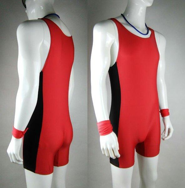 Wholesale-Tight Mens Red Leotards&Unitards Swim Suit Mens One piece Swimwear Uniform Athlete Outfit Wrestling singlet
