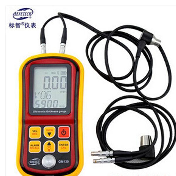 Freeshipping Ultrasonic Thickness Gauge 1.0~300mm Metal Width Monitor Tester Digital Ultrasonic Gauge Steel 0.01mm precision dual probe