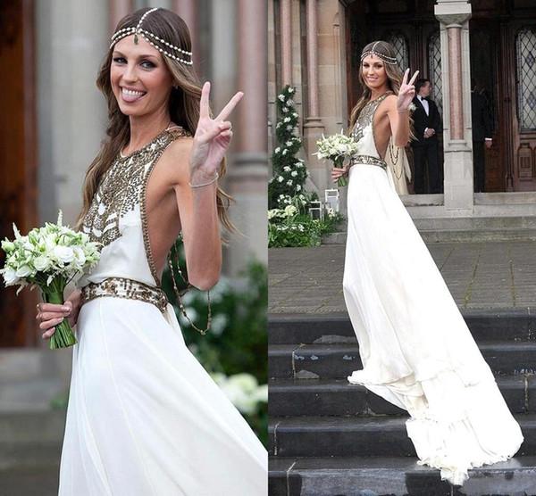 2016 neue Boho eine Linie Sommer Strand Chiffon Brautkleider Halter Kristall Perlen Backless Bodenlangen Brasilien Plus Size Brautkleider Custom