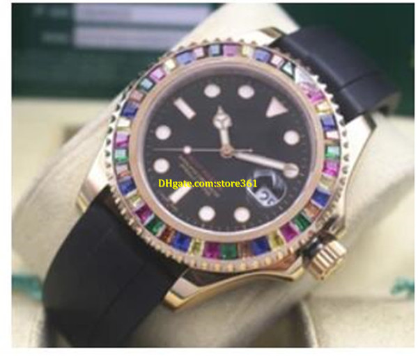 Luxury Black Dial 18K Rose Gold Men Automatic Movement Watch 268655 Sapphire Ruby 40mm Mens Wristwatches Black Rubber Band
