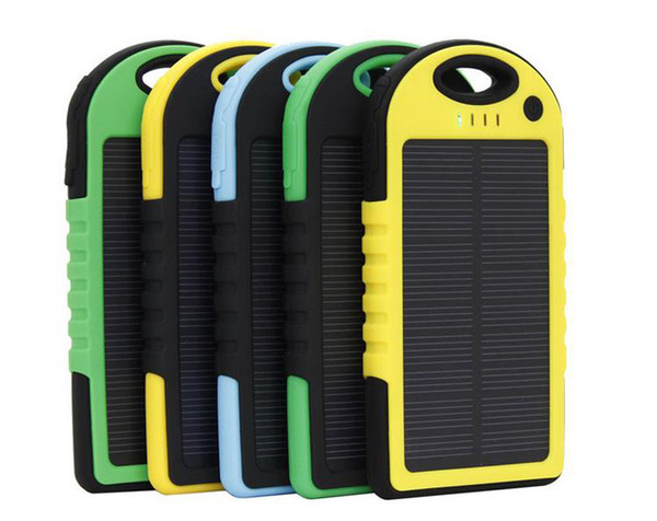 top popular Solar power bank 5000mah Charger LED flashlight Camping lamp Double USB Battery panel waterproof Portable charging for Cell phone mobile DHL 2019