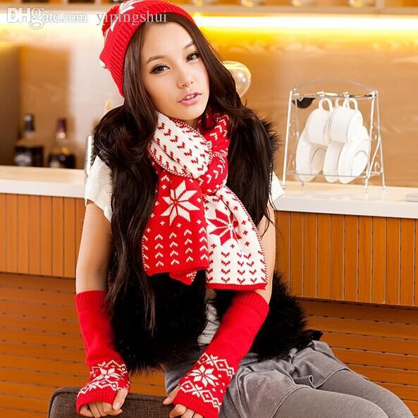 Wholesale-2015 Free Shipping Hot Saling South Korean female winter snowflake pattern knit wool scarf hat gloves three-piece
