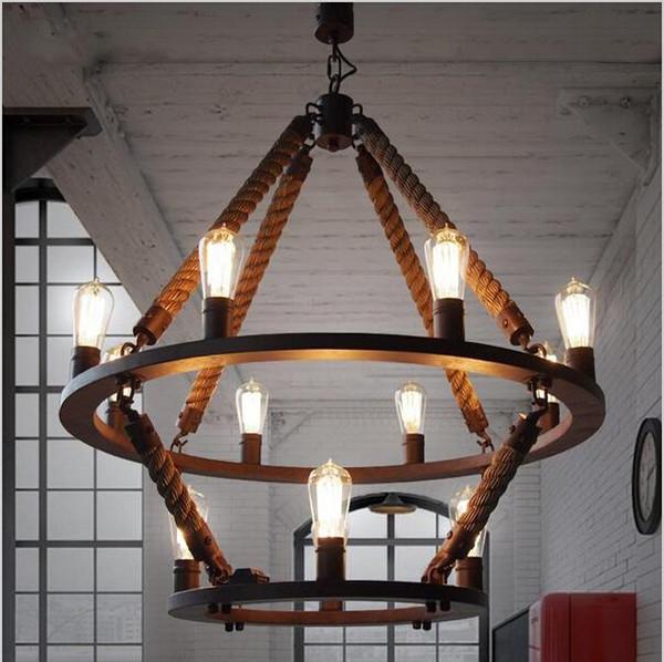 2016 new arrivals Vintage Loft Rope Hemp Pendant Light double layers Iron Hanging Lamp Manmade fixtures Industrial style Hotel Pub Decoratio