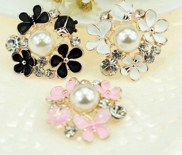 20pcs 25mm lega strass perla fiore perline pulsante per scrapbooking fai da te clip di capelli accessori moda