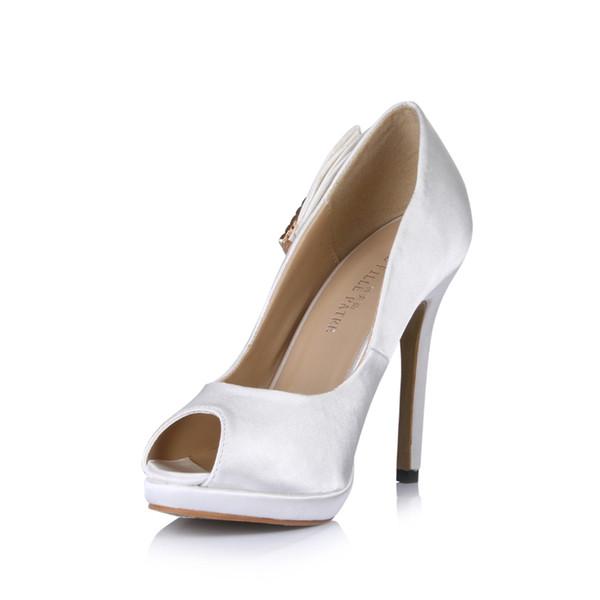 Scarpe da sposa bianche per la sposa 2016 sandali estivi economici modest sexy peep toe vendita calda elegante cinturino fibbia di cristallo peep toe signore eleganti