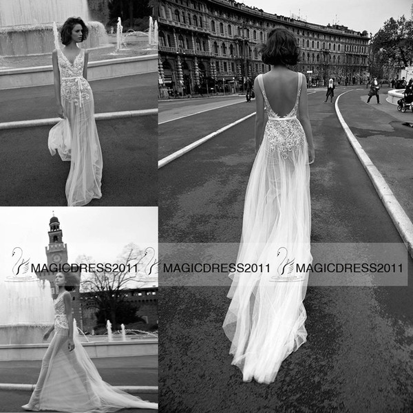 top popular Sexy-Chic Sheath Wedding Dresses Beach Backless Bridal Gowns 2019 V-Neck Appliques Long Vintage Wedding Gown Custom made 2019