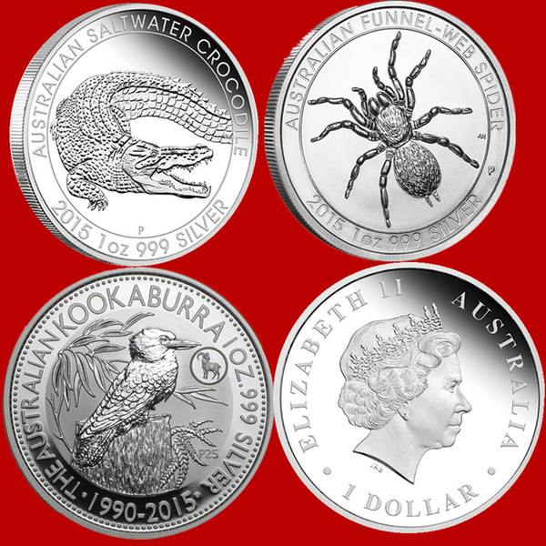 best selling 1 oz Perth Mint Australia Silver Coin, Spider, crocodile, laughing kingfisher koala kangaroo Wedge Tailed Eagle Silver Coin Gift Collection