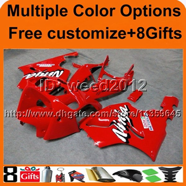 colors+Gifts REDmotorcycle cowl For Kawasaki zx7r 97 98 99 00 01 02 03 ZX 7R 1997 1998 1999 2000 2001 2002 2003 ABS Plastic Fairing