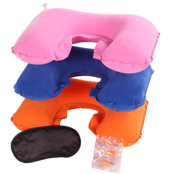 100pcs/lot Portable Travel Set Inflatable U Shape Air Pillow 3 in 1 Neck Rest Eyeshade Earplug Free shipping by DHL