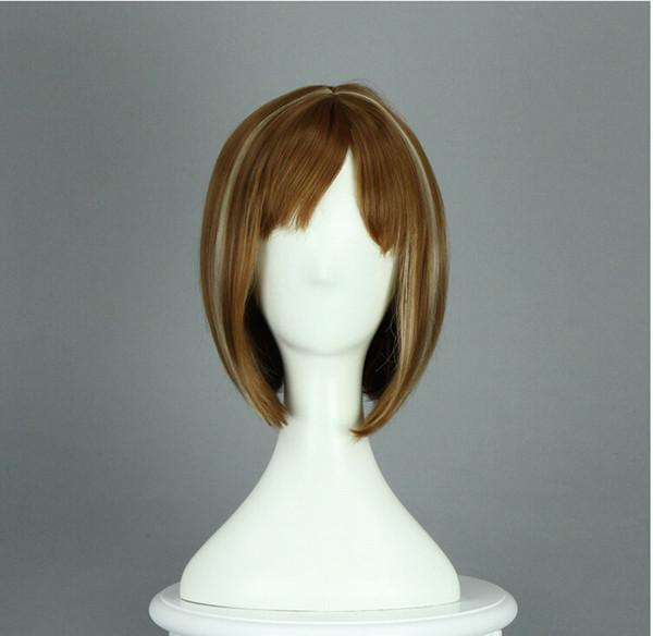 Perruque brune et blanche courte perruque de cheveux raides performances perruque envoi gratuit de commerce de gros perruque Cosplay