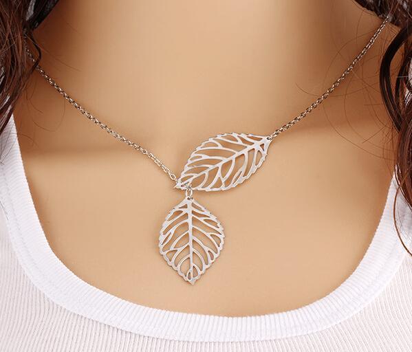 Старинные Двойной Лист Кулон Ожерелье Серебро Женщин Цепи Ожерелье