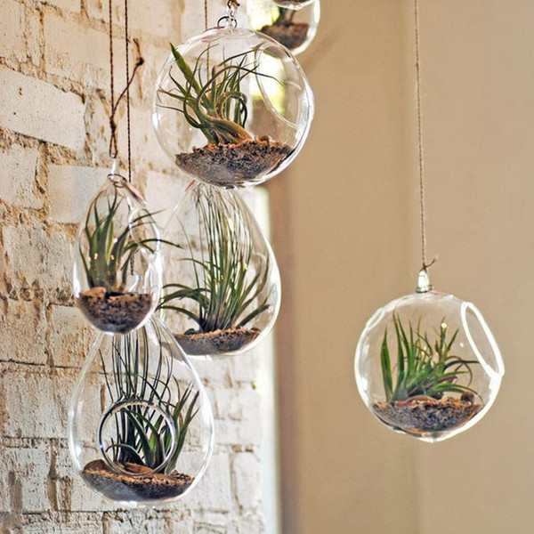 Transparent Hanging Glass Flower Plant Vase Candle Tealight Holder Terrarium Wedding Decor Home Decoration New Planters Pots