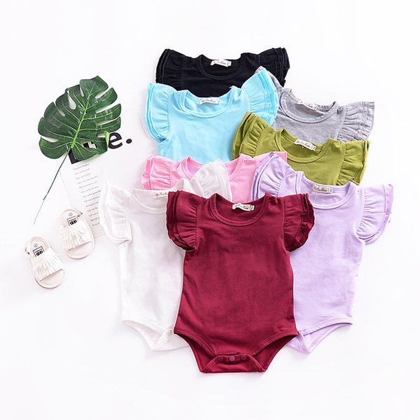 best selling Ins Baby girl Onesies Romper Bodysuit Flutter sleeve Cute solid Short sleeve Romper All-matched 2019 Wholesaler