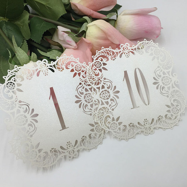 best selling Creative Hollow Laser Cut Seating Cards Numbers Sign Table Cards Romantic Wedding Event Party Supplies
