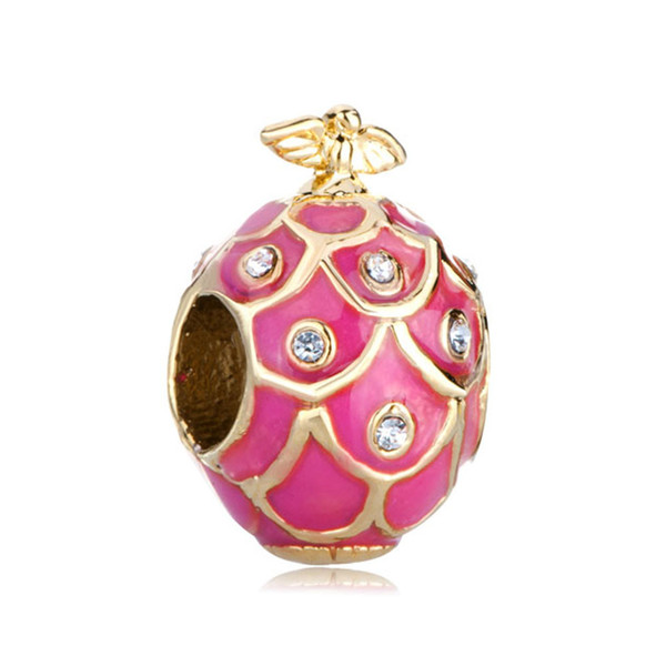 Placcatura in oro Gioiello in metallo smaltato BIRD Faberge Uovo di fascino Perle di russion Egg Adatto per bracciali Religion