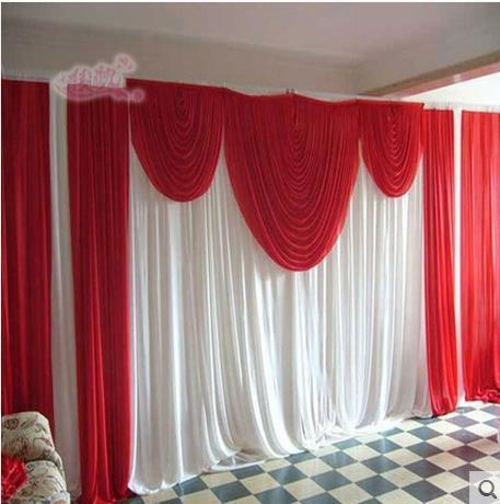 New Ice Silk White Wedding Backdrop with Red Swag Wedding Background for Wedding Party Decor