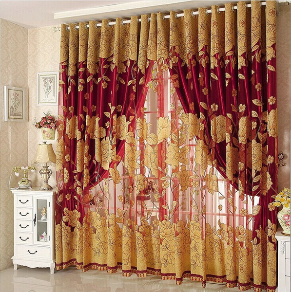 best selling New Arrival Curtains Luxury Beaded For Living Room Tulle +Blackout Curtain Window Treatment drape In Brown Red Freeshipping