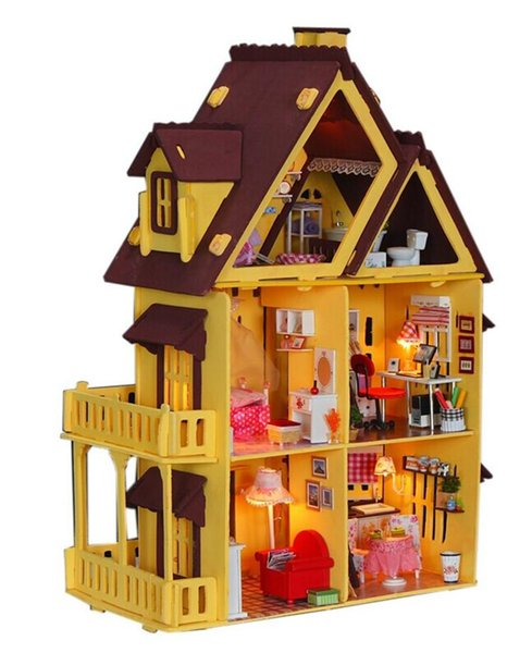 Free Shipping Assembling DIY Miniature Model Kit Wooden Doll House, Unique Big Size House Toy With Furnitures for Christmas Gift TY448