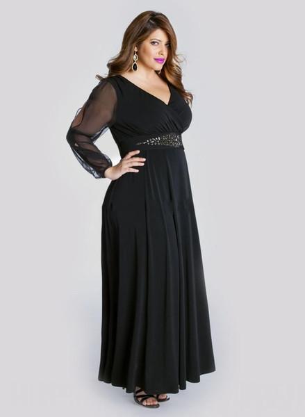 Elegant Black Plus Size Prom Dresses With Long Sleeve A Line V ...
