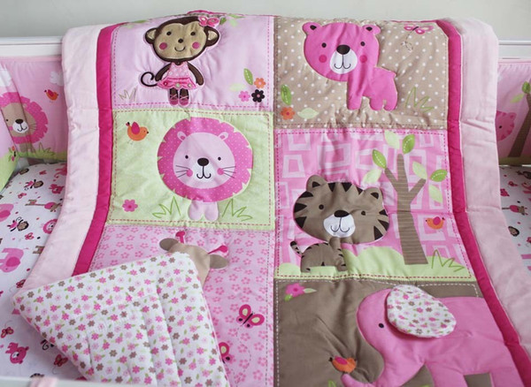 Sale! 2016 7pcs Pure cotton Baby girl crib bedding set 3D Embroidery monkey butterfly lion elephant Baby bedding set Baby Quilt Cot bedding