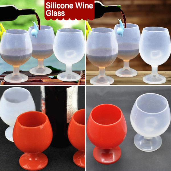 best selling Outdoor Portable Rubber Wine Beer Glass Standing Goblet Silicone Cup Wine Glasses New Design Fashion For Camping BBQ
