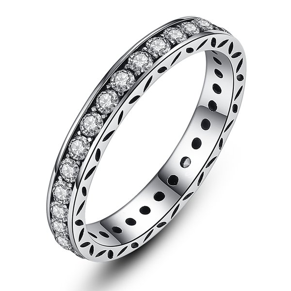 Alluring Petite Brilliant Engagement Wedding Rings, Small Round Eternity Silver Rings with Cubic Zirconia R017