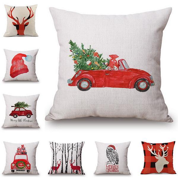 top popular Pillow Cover Cushion Cover Luxury Holiday Christmas Santa Reindeer Cotton and Linen Pillowcase Car Ofa Cushions Office Lumbar 2019