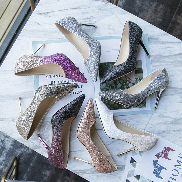 8 Colors Glitter Lady Dress Shoes Women Pumps Heels PU Leather Pointed Toe High Heels Festival Party Wedding Shoes Formal Pumps GWS300