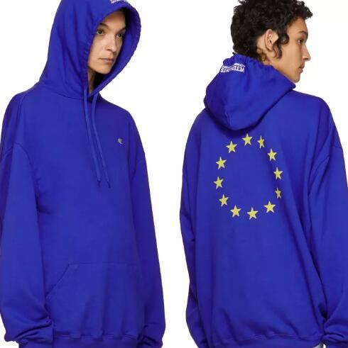 Unisex Winter Autumn Euro Fashion Vetements Oversized Embroidery European Union Hip Hop Hooded Haute Couture Sweatshirts Long Sleeve Hoodie